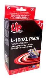 UPRINT - UPrint 100XL Pack de 5 cartouches compatibles Lexmark Qualité Premium (2 noires, 1 cyan, 1 magenta, 1 jaune)