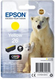EPSON ORIGINAL - Epson 26 jaune (4,5 ml) T2614 Cartouche de marque