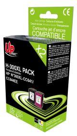 UPRINT - UPrint 300XL Pack de 2 cartouches remanufacturées HP Qualité Premium Noir et Couleurs (20 ml + 21 ml)