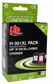 UPRINT - UPrint 301XL Pack de 2 cartouches remanufacturées HP Qualité Premium