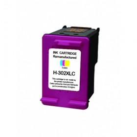 COMPATIBLE HP - 302XL Couleurs (20 ml) Cartouche remanufacturée avec puce et niveau d'encre