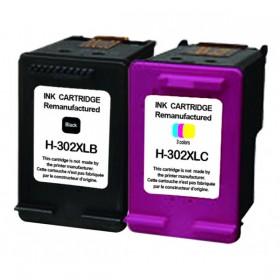 COMPATIBLE HP - 302XL Noir et couleurs Pack de 2 cartouches remanufacturées avec puce
