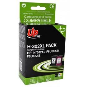 UPRINT - UPrint 302XL Noir et couleurs Pack de 2 cartouches remanufacturées HP Qualité Premium