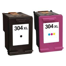 COMPATIBLE HP - 304XL Pack de 2 cartouches remanufacturées Noir & Couleur