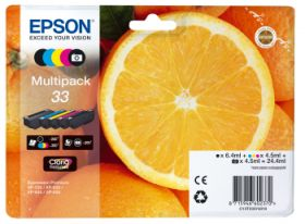 EPSON ORIGINAL - Epson 33 - Multipack 5 cartouches authentiques: T3331 + T3341 + T3342 + T3343 + T3344 - (24,4 ml)
