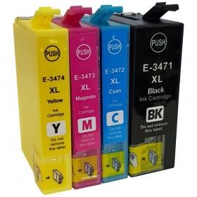 COMPATIBLE EPSON - 34XL - Pack 4 cartouches génériques T3476 (Noir, Cyan, Magenta, Jaune)