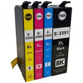COMPATIBLE EPSON - 35XL Pack x4 cartouches génériques T3596 (Noir, Cyan, Magenta, Jaune)