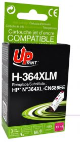 UPRINT/ QUALITE PREMIUM - UPrint 364XL magenta (12 ml) Cartouche Qualité Premium remanufacturée HP