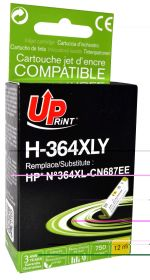 UPRINT/ QUALITE PREMIUM - UPrint 364XL jaune (12 ml) Cartouche Qualité Premium remanufacturée HP