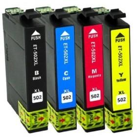 502XL Pack de 4 cartouches génériques Noir, Cyan, Magenta, Jaune