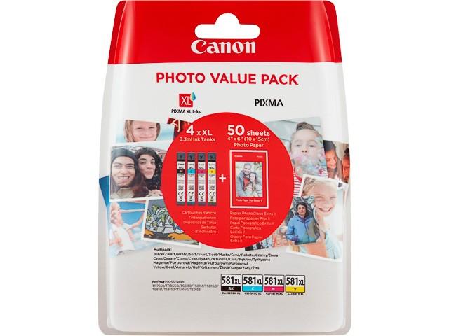 CANON ORIGINAL - Canon CLI-581XL Multipack de 4 cartouches  Noir(e) / Cyan / Magenta / Jaune + Papier photo