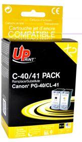 PREMIUM - UPrint PG-40 / CL-41 Pack de cartouches recyclées Canon noire + couleur Qualité Premium