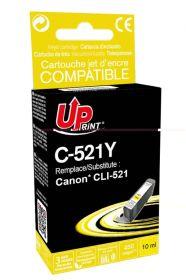 PREMIUM - UPrint CLI-521 Jaune Cartouche remanufacturée Canon Qualité Premium (puce intégrée)