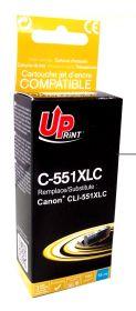 PREMIUM - UPrint CLI-551XL Cyan (11 ml) Cartouche remanufacturée Canon Qualité Premium (puce intégrée)
