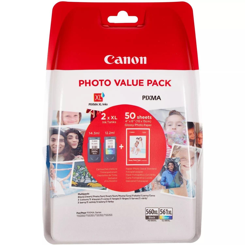 CANON ORIGINAL - Canon PG-560XL / CL-561XL Noir + couleurs - Pack de 2 cartouches de marque