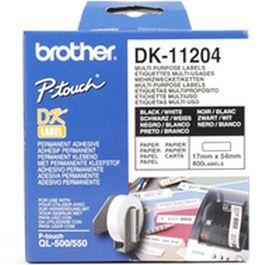 BROTHER ORIGINAL - Brother DK-11204 Etiquettes polyvalentes, de retour de marque 17 x 54 mm, impression noir sur papier blanc