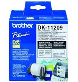 BROTHER ORIGINAL - Brother DK-11209 Etiquettes d'adresse petite taille 29 x 62 mm, impression noir sur papier blanc