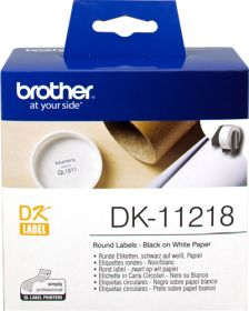 BROTHER ORIGINAL - Brother DK-11218 Etiquettes papier rondes Ø24 mm, impression noir sur papier blanc