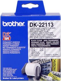 BROTHER ORIGINAL - Brother DK-22113 Ruban film résistant 62 mm x 15,24 m, impression noir sur ruban transparent