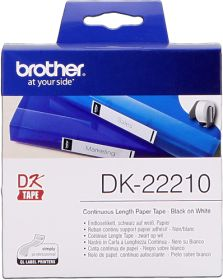 BROTHER ORIGINAL - Brother DK-22210 Ruban en continu résistant 29 mm x 30,48 m, impression noir sur papier blanc