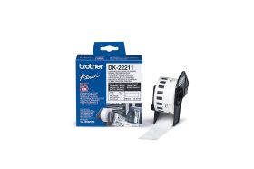 BROTHER ORIGINAL - Brother DK-22211 Ruban film résistant 29 mm x 15,24 m, impression noir sur ruban blanc