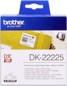 BROTHER ORIGINAL - Brother DK-22225 Ruban continu résistant 38 mm x 30,48 m, impression noir sur papier blanc