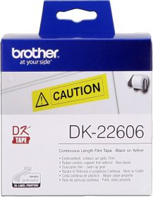 BROTHER ORIGINAL - Brother DK-22606 Ruban film continu résistant 62 mm x 15,24 m, impression noire sur ruban jaune