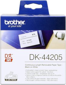 BROTHER ORIGINAL - Brother DK-44205 Ruban papier adhésif amovible 62 mm x 30,48 m, impression noire sur ruban blanc