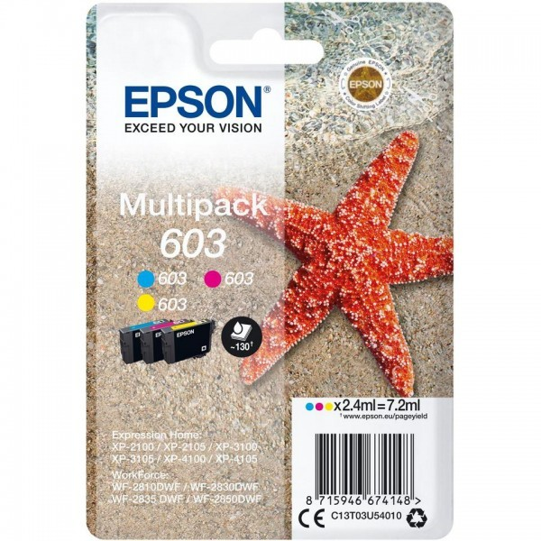 EPSON ORIGINAL - Epson 603 (7,2 ml) Multipack de 3 cartouches de marque Cyan, Magenta, Jaune