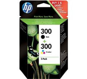 HP ORIGINAL - HP 300 / CN637EE Pack x2 Cartouches d'encre Noire et couleurs de marque