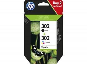HP ORIGINAL - HP 302 /  X4D37AE Noir + Couleurs Pack de 2 cartouches authentiques(3,5 ml + 4 ml)