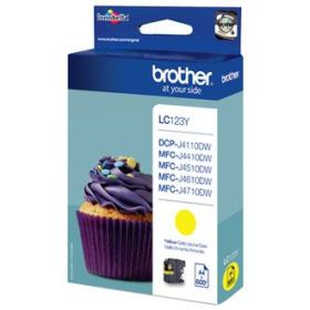 BROTHER ORIGINAL - Brother LC-123 Jaune (600 pages) Cartouche de marque