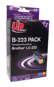 UPRINT - UPrint LC-223 Pack 5 cartouches compatibles Brother Qualité Premium