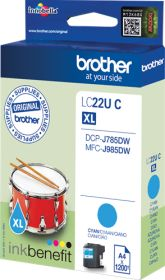 BROTHER ORIGINAL - Brother LC-22U XL cyan (1200 pages) Cartouche de marque