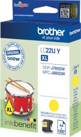 BROTHER ORIGINAL - Brother LC-22U XL jaune (1200 pages) Cartouche de marque