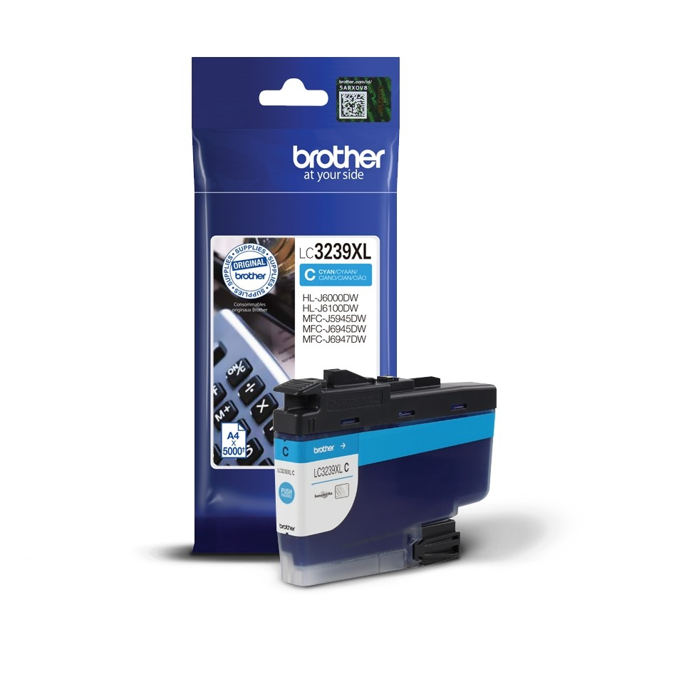 BROTHER ORIGINAL - Brother LC3239XL Cyan (5000 pages) Cartouche de marque