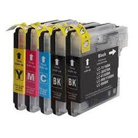 COMPATIBLE BROTHER - LC-980/ LC-1100 Pack 4 cartouches génériques + 1 noire offerte