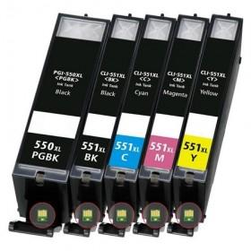 COMPATIBLE CANON - PGI-550/ CLI-551 Pack 5 cartouches génériques pour imprimantes Pixma