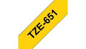 BROTHER ORIGINAL - Brother TZE-651 Ruban laminé noir sur Jaune, 24mm sur 8 mètres pour imprimante P-Touch