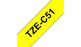 BROTHER ORIGINAL - Brother TZE-C51 Ruban laminé noir sur Jaune fluorescent, 24mm sur 5 mètres pour imprimante P-Touch
