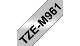 BROTHER ORIGINAL - Brother TZE-M961 Ruban laminé noir sur argent métallique, 36mm sur 8 mètres pour imprimante P-Touch