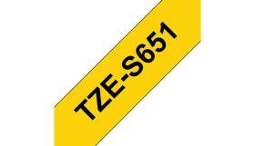 BROTHER ORIGINAL - Brother TZE-S651 Ruban adhésif puissant laminé noir sur Jaune, 24mm sur 8 mètres pour imprimante P-Touch