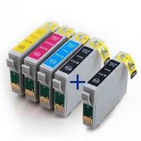 COMPATIBLE EPSON - T0715 - Pack 4 cartouches génériques + 1 noire offerte