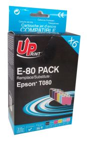 UPRINT/ QUALITE PREMIUM - UPrint T0807 ! Pack de 6 cartouches compatibles Epson Qualité Premium T0801, T0802, T0803, T0804, T0805, T0806