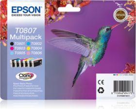 EPSON ORIGINAL - Epson T0807 Pack de 6 cartouches de marque (Noir, Cyan, Magenta, Jaune, Cyan clair, Magenta clair)