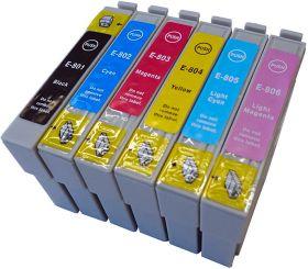 COMPATIBLE EPSON - PROMO T0807 ! Pack de 6 cartouches génériques T0801, T0802, T0803, T0804, T0805, T0806
