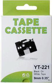 COMPATIBLE BROTHER - TZE-221 Ruban noir sur blanc, 9mm sur 8 mètres pour imprimante P-Touch