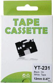 COMPATIBLE BROTHER - TZE-231 Ruban Noir sur blanc, 12mm sur 8 mètres pour imprimante P-Touch