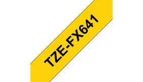 COMPATIBLE BROTHER - TZE-FX641 Ruban flexible laminé générique noir sur Jaune, 18mm sur 8 mètres pour imprimante P-Touch