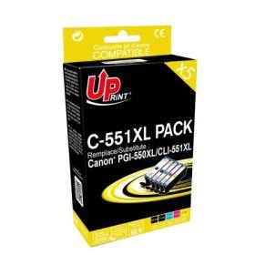 PREMIUM - UPrint PGI-550 CLI-551 Pack 5 cartouches Qualité Premium remanufacturées Canon